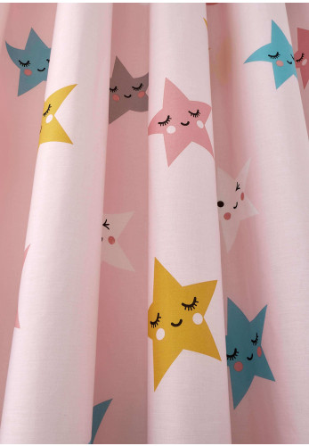 "Cosatto Kids Happy Stars 66"" x 72"" Pencil Pleat Curtains, Pink"