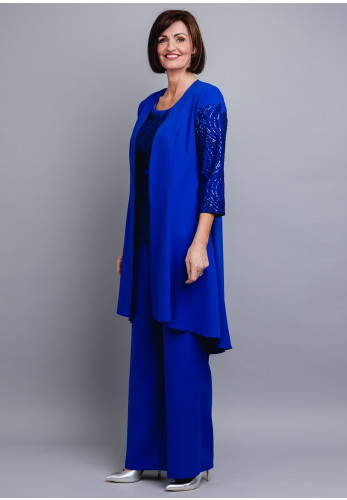 Couture Club Sequin Trim Trouser Suit, Cobalt Blue