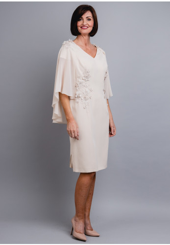 Couture Club Cape Sleeve Embellished Dress, Beige