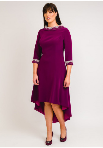 Couture Club Beaded High-Low Dress, Purple