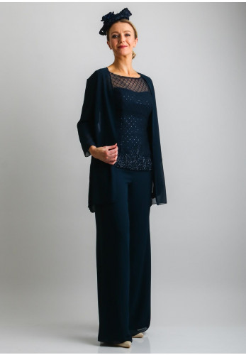Couture Club Chiffon Wide Leg Trouser Suit, Navy