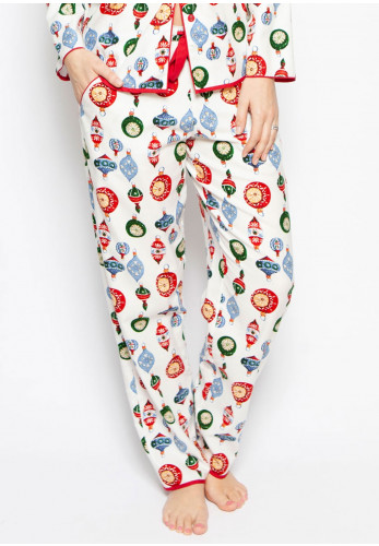 Cyberjammies Belle Bauble Print Pyjama Bottoms, White Multi