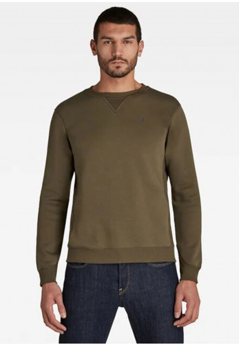 G Star Raw Mens Premium Core Crew Neck Sweater, Combat