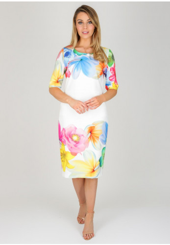 Daisy May Floral Pencil Dress, White Multi