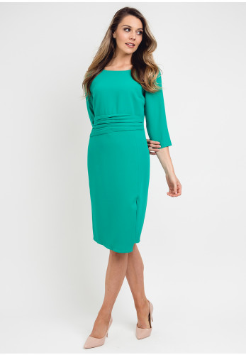 Daisy May Ruched Waist Pencil Dress, Jade Green