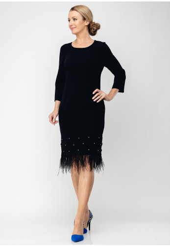 Daisy May Feather Trim Pencil Dress, Black