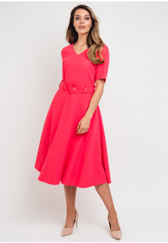 Daisy May Belted Flared Midi Dress, Pink