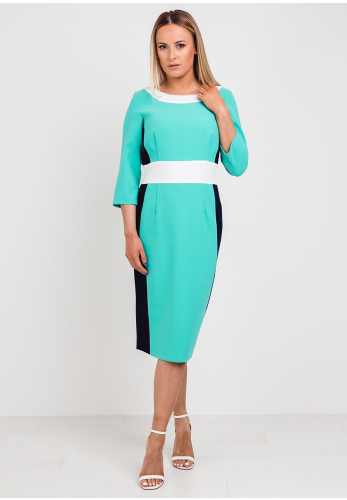 Daisy May Colour Block Pencil Dress, Green Multi
