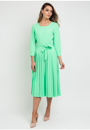 Daisy May Cropped Sleeve Pleated Dress, Apple Green