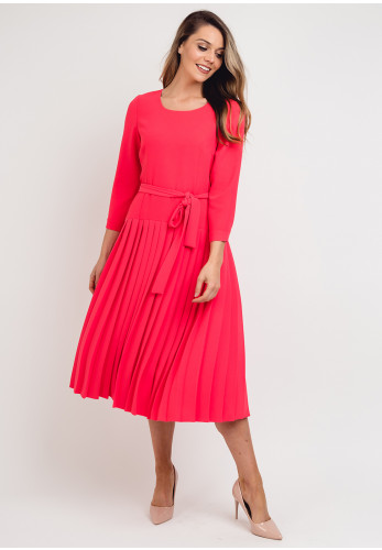 Daisy May Cropped Sleeve Pleated Dress, Hot Pink