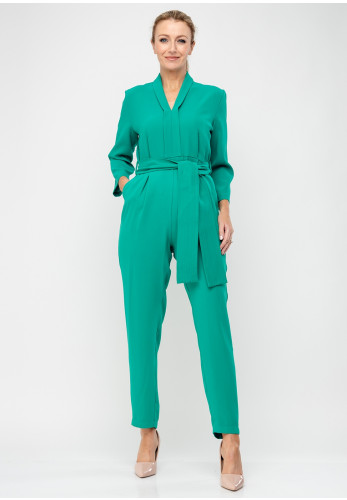 Daisy May Belted V-Neck Jumpsuit, Jade Green