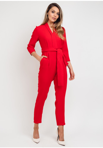 Daisy May Belted V-Neck Jumpsuit, Red