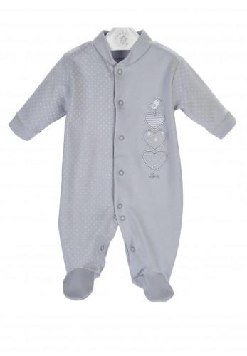 Dandelion Baby Bird and Heart Sleepsuit, Grey