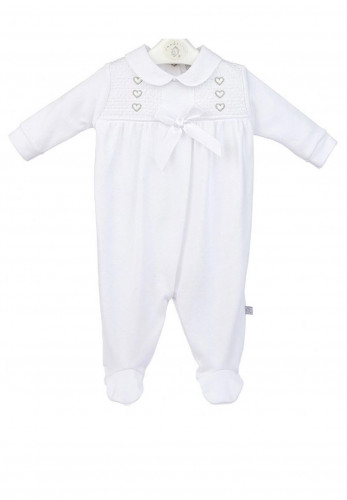 Dandelion Baby Girl Heart and Bow Sleepsuit, White