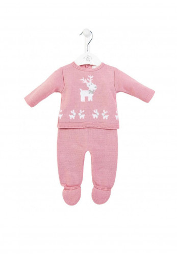 Dandelion Baby Girls Reindeer Top & Trouser Set, Pink