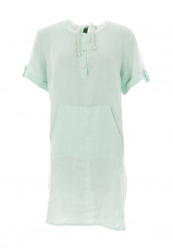 d.e.c.k. by Decollage One Size Hooded Linen Tunic, Sage