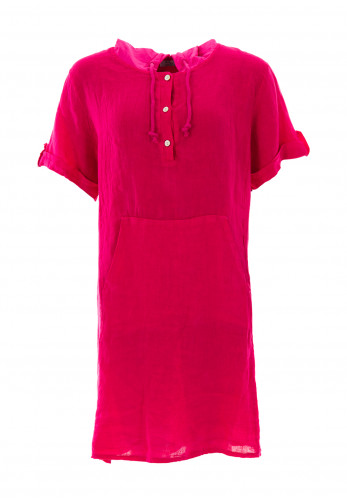 d.e.c.k. by Decollage One Size Hooded Linen Tunic, Fuchsia