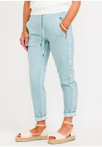 d.e.c.k. by Decollage Ribbon Trim Relaxed Trousers, Blue
