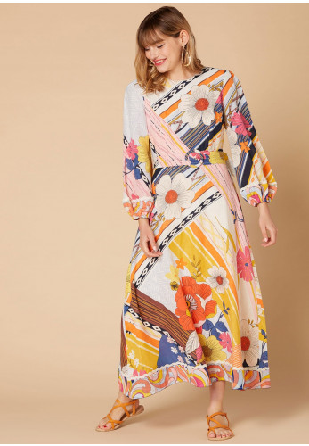 Derhy Floral Cotton Maxi Dress, Multi-Coloured
