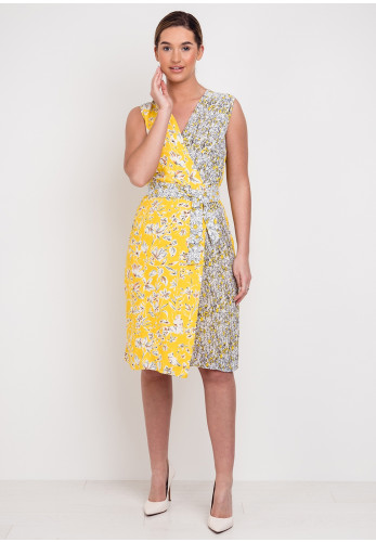 Derhy Atelier D Floral Wrap Dress, Yellow