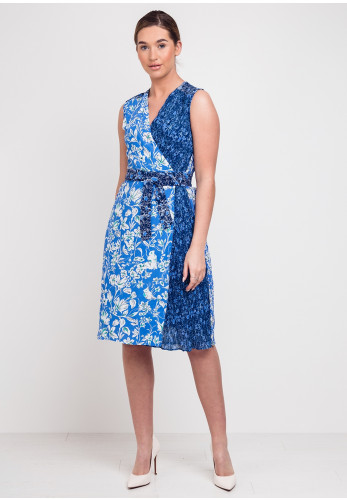Derhy Atelier D Floral Wrap Dress, Blue