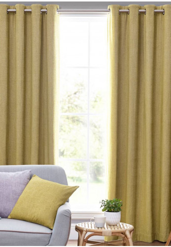 Design Studio Orkney Fully Lined Eyelet Curtains, Ochre