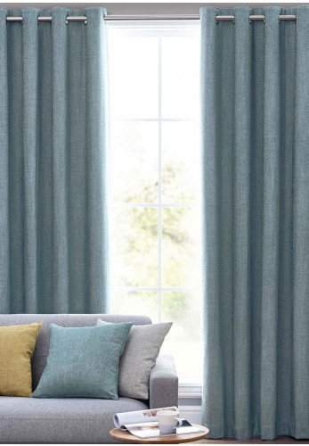 Design Studio Orkney Fully Lined Eyelet Curtains, Sea Mist