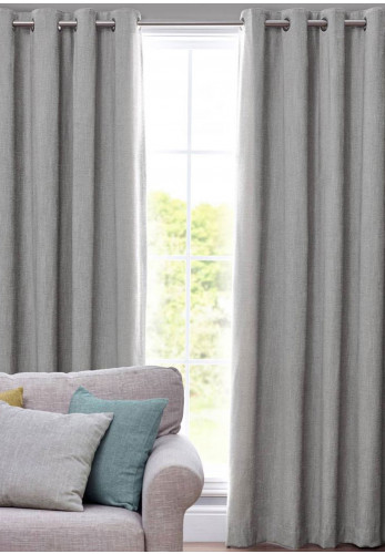 Design Studio Orkney Fully Lined Eyelet Curtains, Smoke