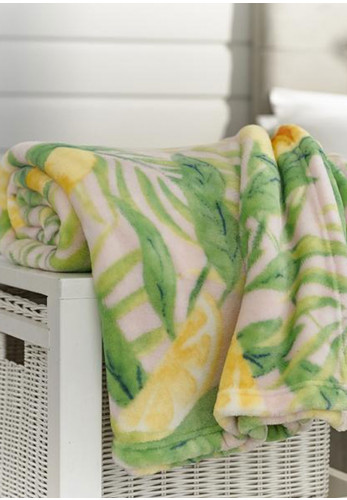 Deyongs Lemon & Leaf Fleece Throw, Multi