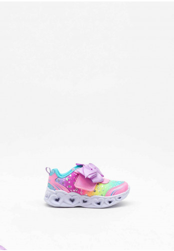 Skechers Toddler Heart Lights All About Bows Trainer, Pink Multi