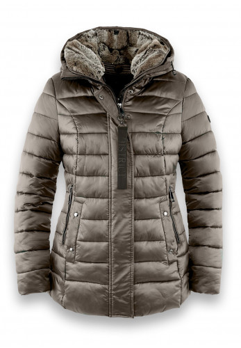 District Glamour High Shine Puffer Jacket, Taupe