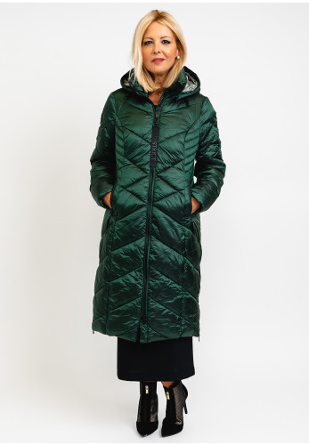 District Mistic Quilted Long Coat, Green