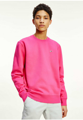 Tommy Jeans Fleece Round Neck Sweater, Cerise Pink