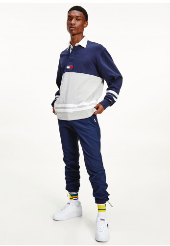 Tommy Jeans Colour Block Rugby Polo Shirt, Twilight Navy