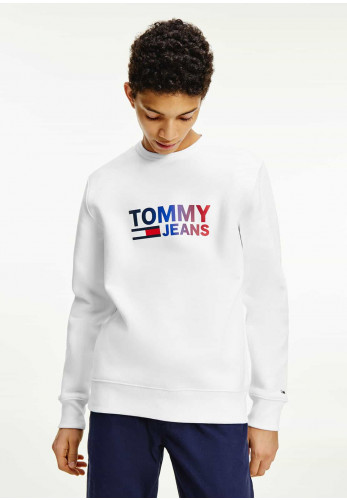 Tommy Jeans Ombre Corp Logo Round Neck Sweater, White