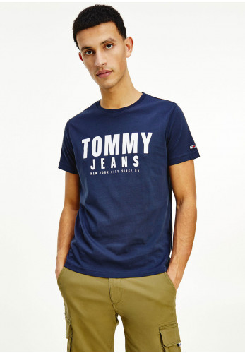Tommy Jeans Organic Graphic Tommy Logo T-Shirt, Twilight Navy