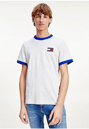 Tommy Jeans Organic Badge Ringer T-Shirt, Silver Grey