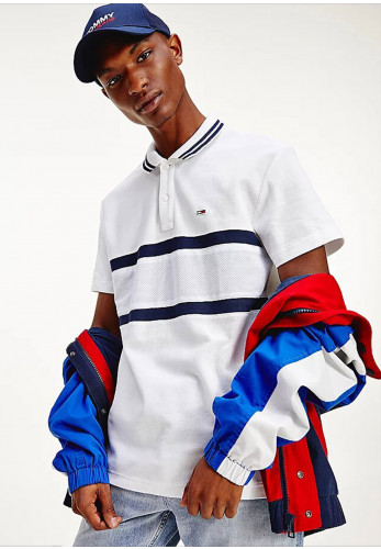 Tommy Jeans Mix Media Band Polo Shirt, White Multi