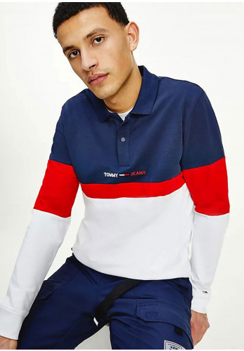 Tommy Jeans Colour Block Polo Shirt, Twilight Navy