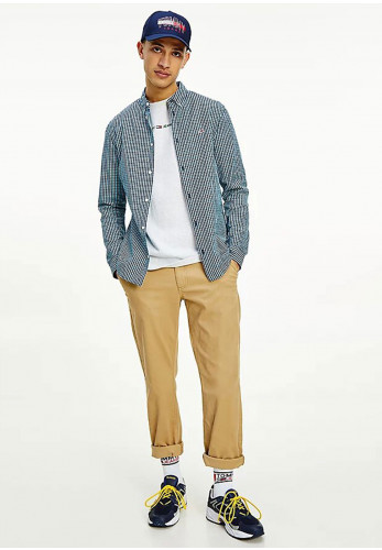 Tommy Jeans Essential Gingham Slim Shirt, Twilight Navy