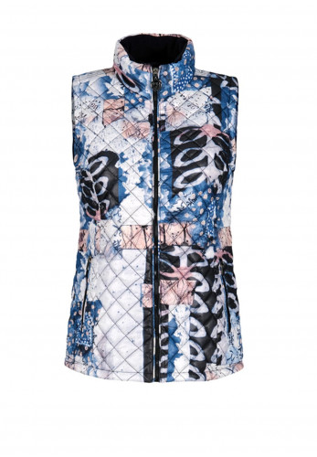 Dolcezza Printed Quilted Gilet, Blue Multi