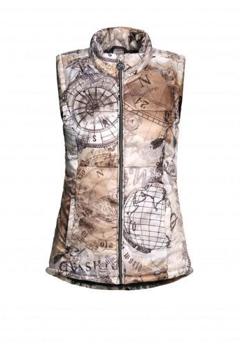 Dolcezza Compass Print Padded Gilet, Beige Multi