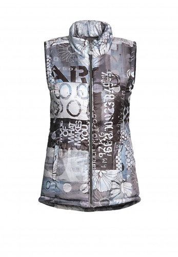Dolcezza Printed Quilted Gilet, Grey Multi