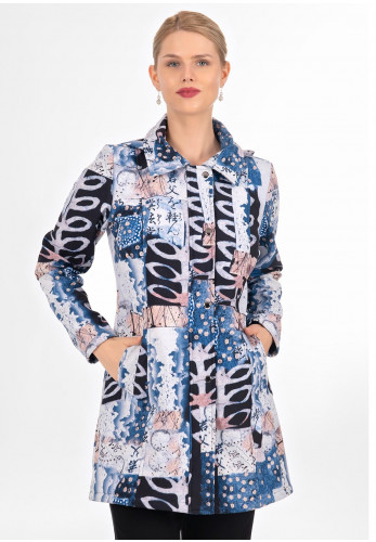 Dolcezza Printed Hooded Jacket, Blue Multi