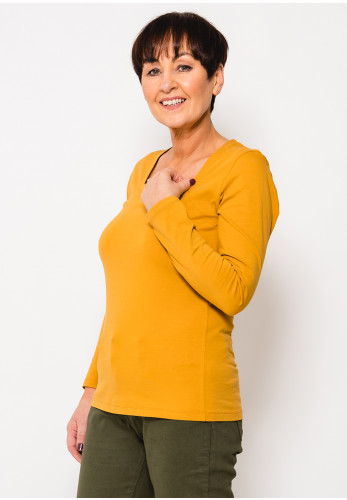 Dolcezza Square Neck Long Sleeve T-Shirt, Saffron