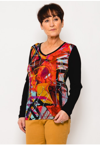 Dolcezza Abstract Print Jersey Top, Pink Multi