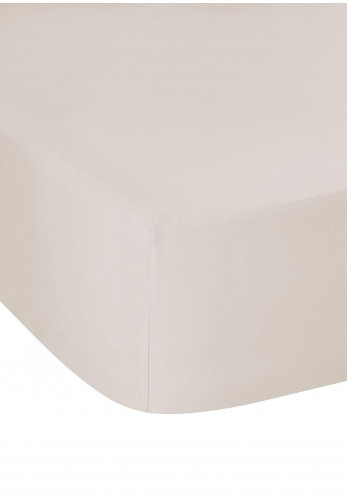 Dorma Fitted Sheet Pure Cotton Sateen 300 TC, Mushroom