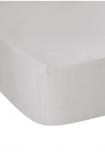 Dorma Fitted Sheet 300 TC Pure Cotton Sateen, Silver