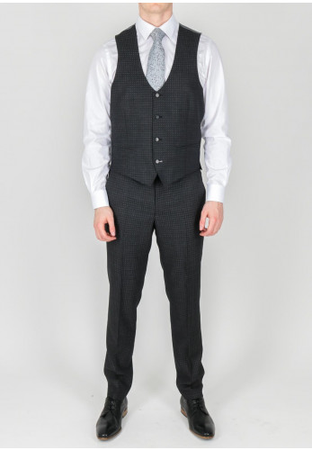 Remus Uomo Grey Square Print Waistcoat Mix and Match, Extra Slim