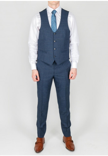 Remus Uomo Navy Square Print Waistcoat Mix and Match, Extra Slim